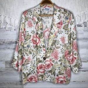 Vintage floral oversized blazer with pockets